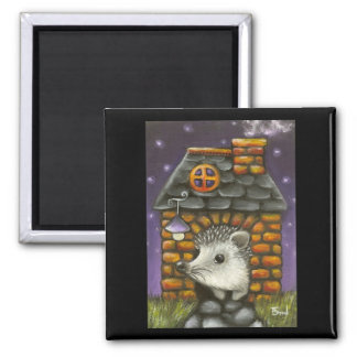 Hedgehog in his cosy little home fridge magnets
