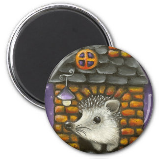 Hedgehog in his cosy little home refrigerator magnets