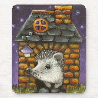 Hedgehog in his cosy little home mouse pad