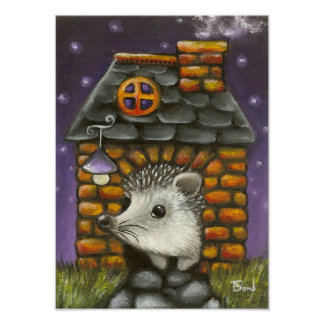 Hedgehog in his cosy little home posters