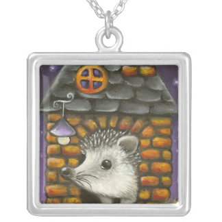 Hedgehog in his cosy little home square pendant necklace