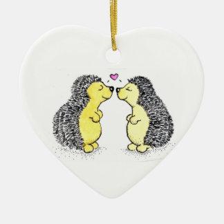 Hedgehog Love Double-Sided Heart Ceramic Christmas Ornament