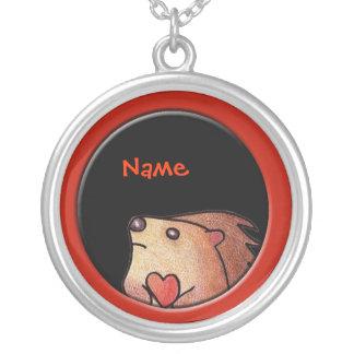 Hedgehog Love Necklace! Round Pendant Necklace