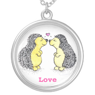 Hedgehog Love Round Pendant Necklace