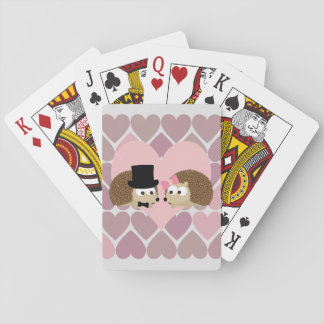 Hedgehog Love with Hearts Playing Cards
