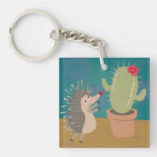 Hedgehog Meets Cactus Keychain