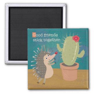 Hedgehog Meets Cactus Magnet