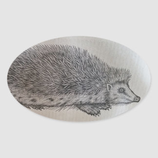 Hedgehog Oval Sticker
