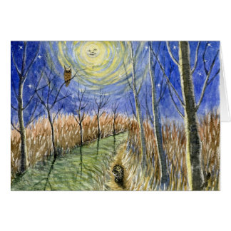 Hedgehog, Owl, Moon and Stars Watercolor Greeting Card
