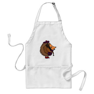 Hedgehog Playing Bagpipes Adult Apron