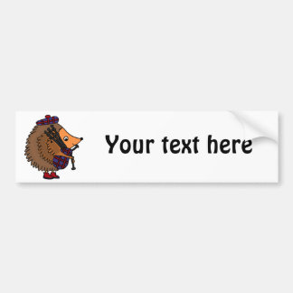 Hedgehog Playing Bagpipes Bumper Sticker