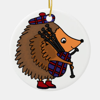 Hedgehog Playing Bagpipes Ceramic Ornament