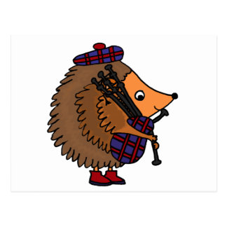 Hedgehog Playing Bagpipes Postcard