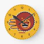 Hand shaped Hedgehog Red Afro Funny Face Round Clock
