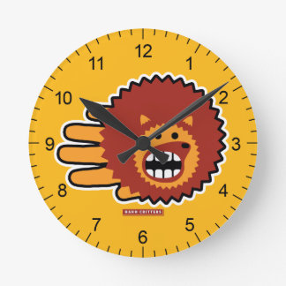 Hedgehog Red Afro Funny Face Round Wallclock