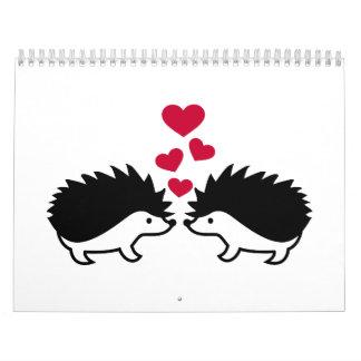 Hedgehog red hearts love wall calendar