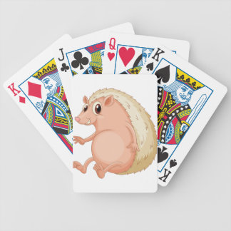 Hedgehog sitting bicycle playing cards
