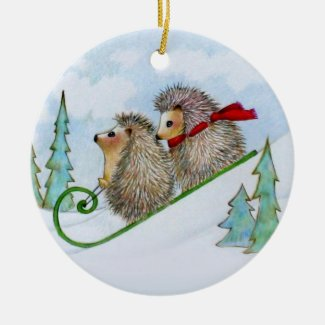 Hedgehog Sled Ornament
