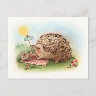 Hedgehog Summer afternoon postcard
