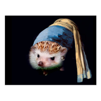 Hedgehog With a Pearl Earring  Postcard