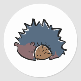 hedgehog with baby classic round sticker