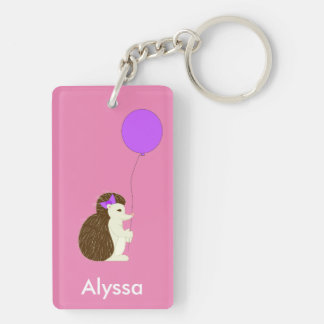 Hedgehog with balloon double sided keychain