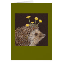 Hedgehog with Common Tansy card