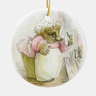 Hedgehog with Iron Mrs Tiggy-Winkle Ceramic Ornament
