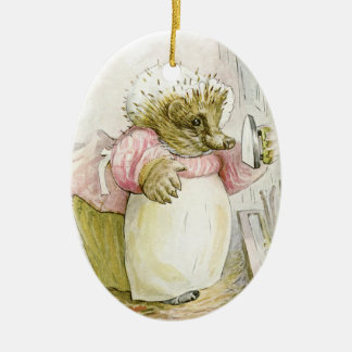 Hedgehog with Iron Mrs Tiggy-Winkle Ceramic Ornament