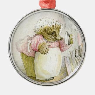Hedgehog with Iron Mrs Tiggy-Winkle Metal Ornament