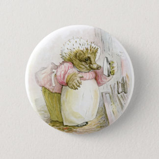 Hedgehog with Iron Mrs Tiggy-Winkle Pinback Button