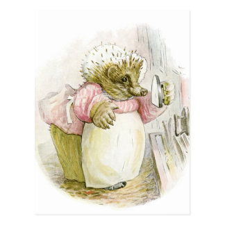 Hedgehog with Iron Mrs Tiggy-Winkle Postcard
