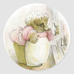 Hedgehog with Iron Mrs Tiggy-Winkle Round Stickers