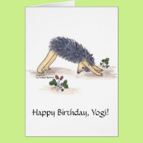 Hedgehog Yoga Downward-facing-dog Card