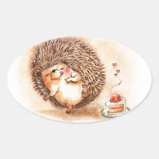 Hedgehog Yum! Oval Sticker