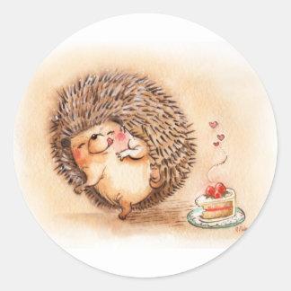 Hedgehog Yum Round Sticker