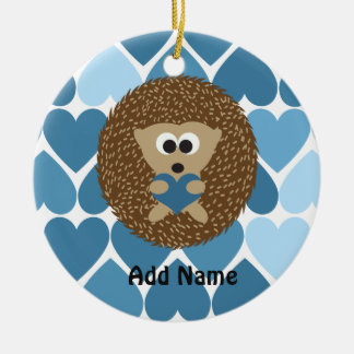 Hedgehogs and Blue Hearts Ceramic Ornament