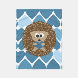 Hedgehogs and Blue Hearts Fleece Blanket