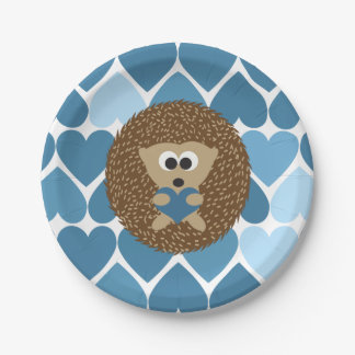 Hedgehogs and Blue Hearts Paper Plate