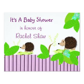 "Hedgehogs Baby Shower Invitation 4.25"" X 5.5"" Invitation Card"