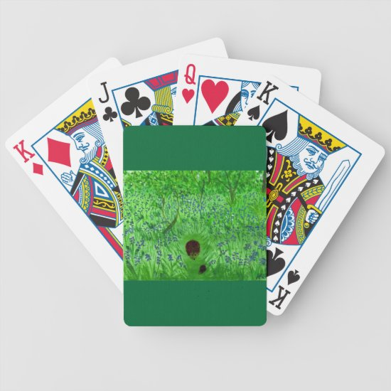 Hedgehogs Bluebell Woodland Bicycle Playing Cards