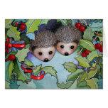 Hedgehogs Christmas Holiday Card
