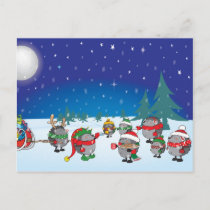 Hedgehog's Christmas magic Holiday Postcard