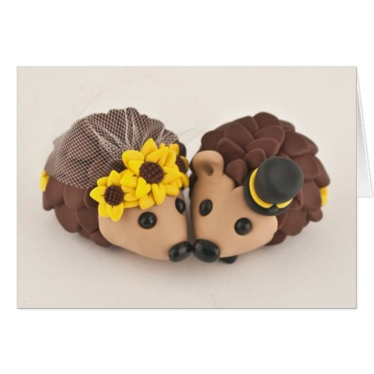 Hedgehogs in Love Cake Topper Greeting Card
