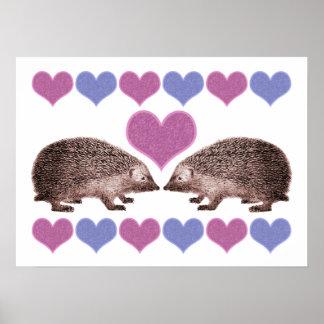 Hedgehogs in Love Folk Art Style Hearts Poster