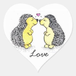 Hedgehogs in Love Heart Sticker