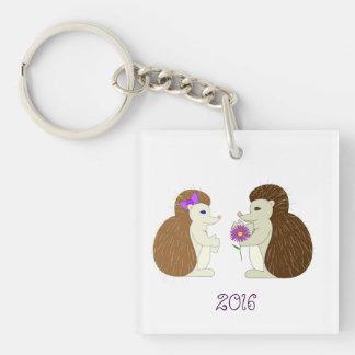 Hedgehogs in love keychain