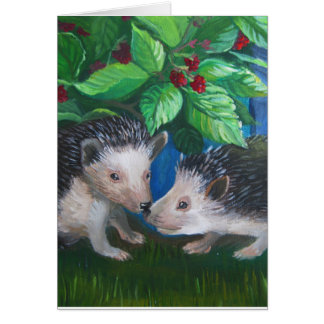Hedgehogs in love oil painting card