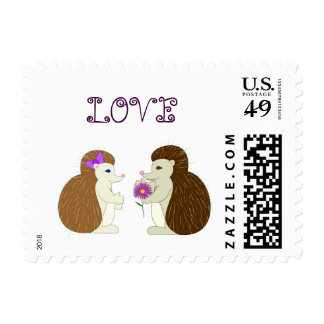 Hedgehogs in love postage