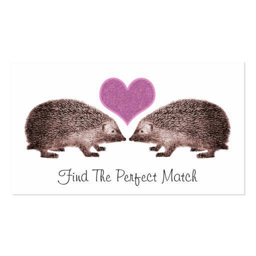 Hedgehogs in Love Romantic Matchmaking Dating Double-Sided Standard Business Cards (Pack Of 100)